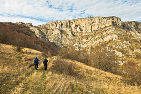 Treking through autumn landscape of Nisevacka gorge in east Serbia Stock Photo