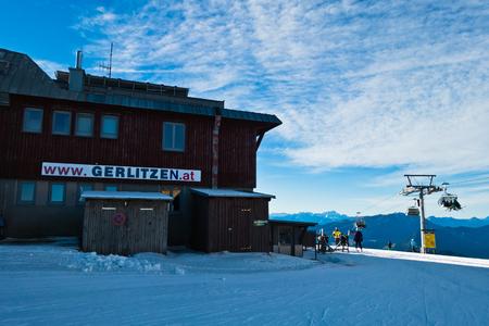 Gerlitzen ski resort main gondola station with surrounding landscape in Austrian alps, Austria
