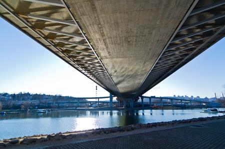 Scenery below the cable bridge construction site, Ada, Belgrade, Serbia