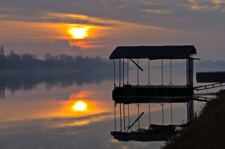 Sunset on a lake at Ada river island in Belgrade, Serbia Stock Photo