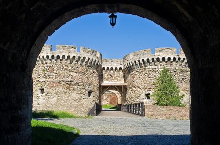 Fortress gate with a wooden bridge at Kalemegdan fortress, Belgrade, Serbia Stock Photo
