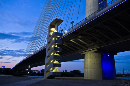 Cable bridge over Sava river at twilight, Belgrade, Serbia
