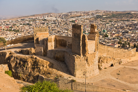 View from Merenides tombs to old city walls, Bab Guissa gate and Fez cityscape, Morocco, Africa