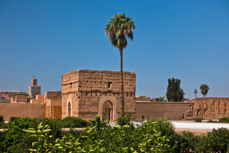 Remains of a ruined 16th century Saadian Dynasty El Badi palace located in Marrakesh, Morocco, Africa Stock Photo