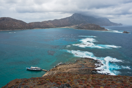 View from an old Venetian fortress used by pirates at the top of Gramvoussa island, Near Balos beach north-west coast of Crete island, Greece