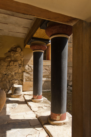 Architectural details of Knossos palace near Heraklion, island of Crete, Greece