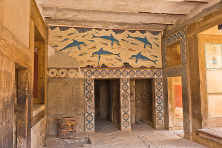 Details of queens rooms at Knossos palace near Heraklion, island of Crete, Greece Banco de Imagens