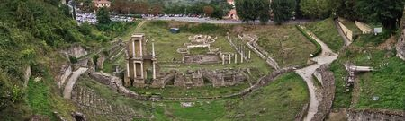Roman theatre of Voltera, a view from Volterra city walls, Tuscany, Italy