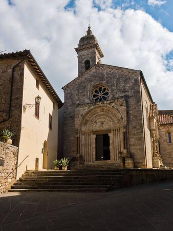 San Quirico church at sunny morning in San Quirico dOrcia , Siena province, Tuscany, Italy