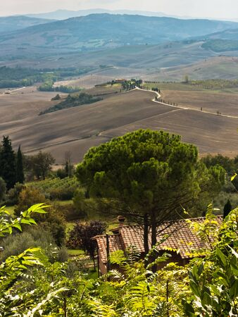 Viewpoint from a city walls of Pienza to surrounding landscape, Siena province, Tuscany, Italy