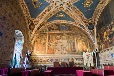 Interior of Priori Pallace, magnificent architecture of city council hall in Volterra, Tuscany, Italy