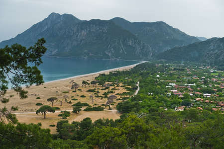 Cirali beach and its surrounding mountain landscape at Olympos national park in Turkey