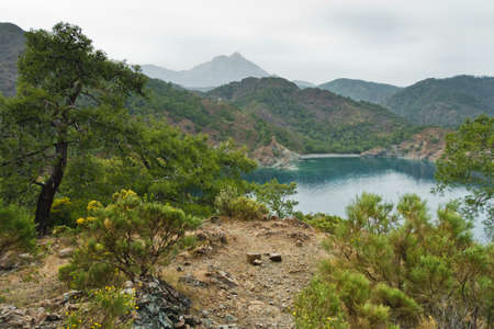 Landscape and seascape views on a coastal path leading from Cirali beach to Tekirova in Turkey