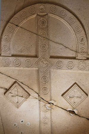 Ceiling details from christian churches hidden and carved in caves near Goreme, Cappadocia, Anatolia, Turkey