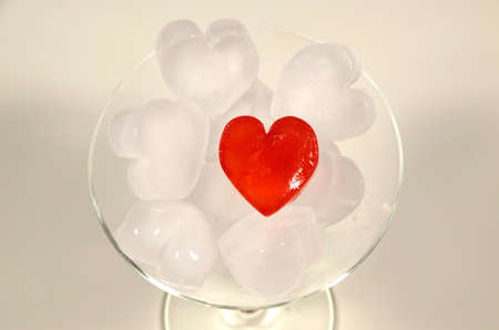 ice cubes: A glass with heart ice cubes
