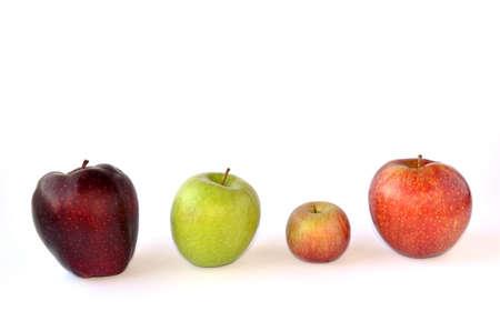 4 つの異なるりんごの違いを尊重します。 写真素材