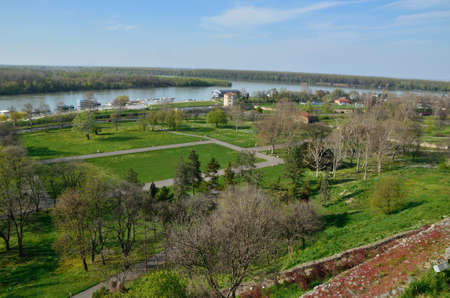 confluence: Confluence of the river Sava into the Danube - Kalemegdan fortress view Stock Photo