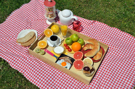 Colorful Picnic Breakfast Or Brunch With Fresh Coffee Ham And Egg Domestic Croissants