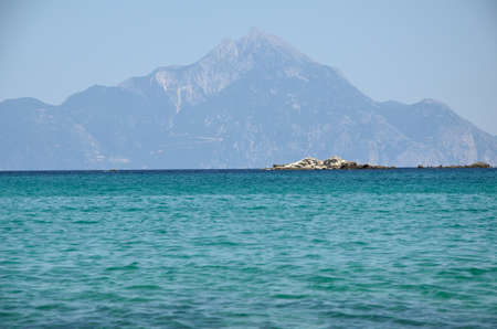 sithonia: Athos montagna visto dalla bellissima penisola di Sithonia