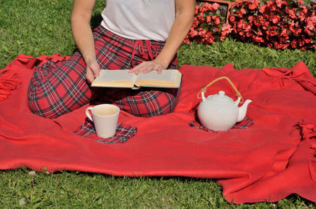 scotish: Lady having picnic, sitting on red blanket, reading a book and drinking tea. Stock Photo