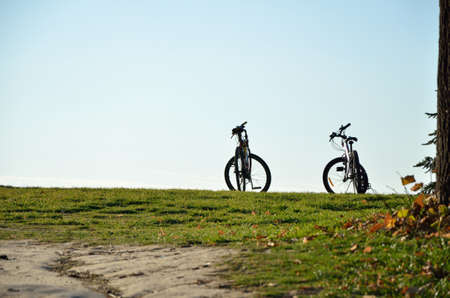off road biking: Two bicycles on green lawn in fall