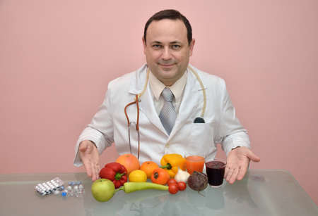 recommending: Doctor recommending fresh, colorful, healthy food instead of taking drugs