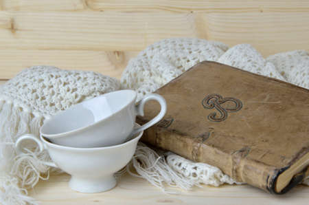 old diary: Grannys stuffs - vintage nineteenth century coffee cups with hand-knitted scarf - and my old diary notebook of which I am the author