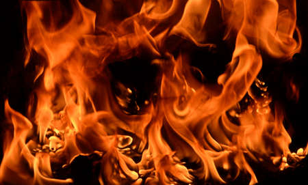 smolder: Close up of flame in furnace as background Stock Photo