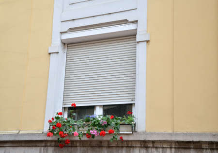 renovated: Window with flowers, covered with sunblind on a renovated facade