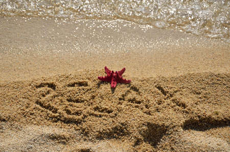 sea star: Red sea star close to the sea on sandy beach with word RELAX written in the sand Stock Photo