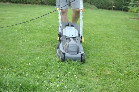cut grass: Man is pushing a mower to cut the grass in his garden