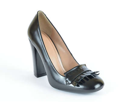 Black classic shiny leather high heel shoe on white