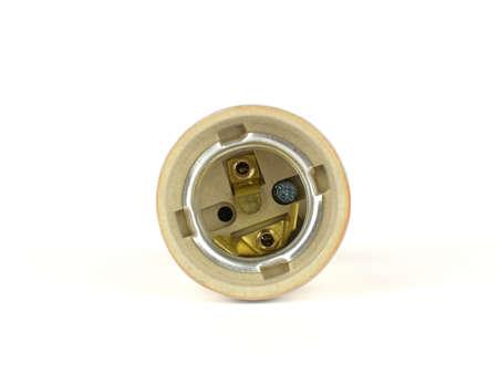 Front of ceramic light bulb socket isolated on white