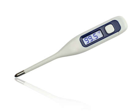 99.5 degrees Fahrenheit on clinical electronic thermometer on white background Stock Photo