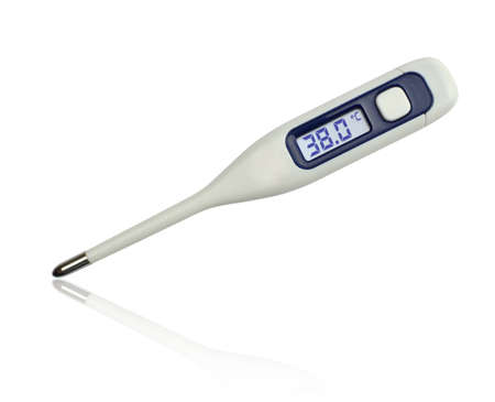 38: 38 degrees Celsius on clinical electronic thermometer on white background Stock Photo