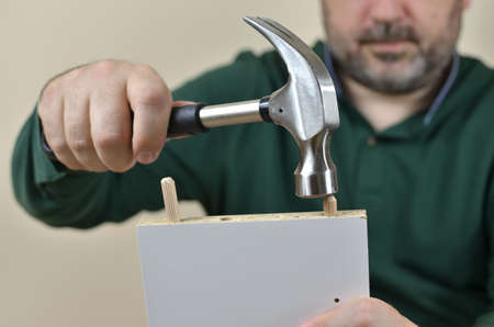 Man installing wooden dowels in to a particle board with hammer Stock Photo