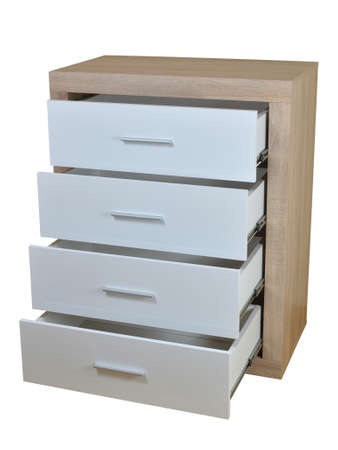 closet: Chest of four open drawers made of wooden materials isolated on white