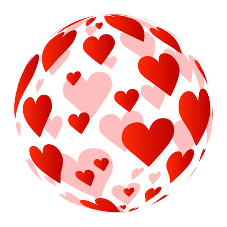 Sphere formed of red hearts as an universal symbol of love Ilustração