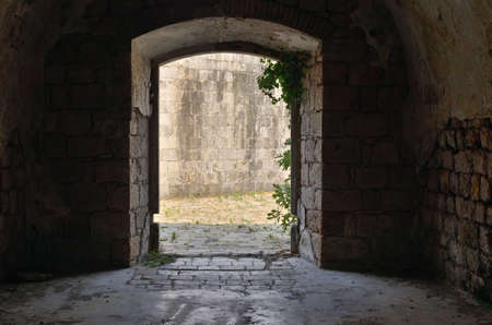 Exit door from an old stone fort that was used as a prison