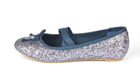 Shimmer silver blue ballerina flat shoe with crossed elastic drawstrings on white background