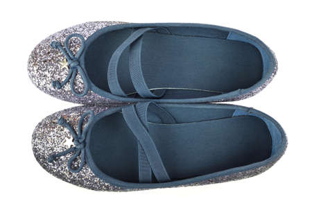Shimmer silver blue ballerina flat shoes with crossed elastic drawstrings and soft cotton lining - on white background - bird-eye-view