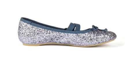 Shimmer silver blue ballerina flat shoe isolated on white