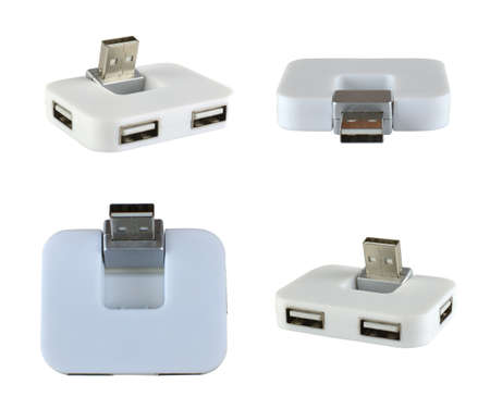 Multiport USB hub in four different positions - isolated on white background