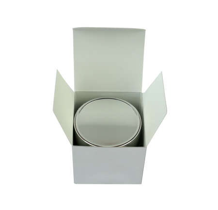 Open silver box with a cream jar isolated on white background Stock Photo