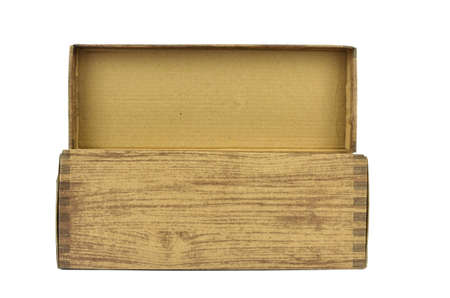Open cardboard box with a wooden pattern isolated on white background Stock Photo