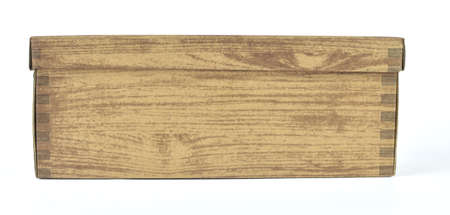 Cardboard box with a wooden pattern isolated on white Stock Photo