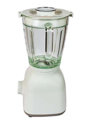 Frullatore bianco con un bicchiere isolato su bianco - vista laterale