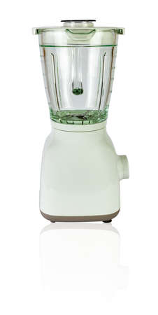 White blender with a glass isolated on white - side view