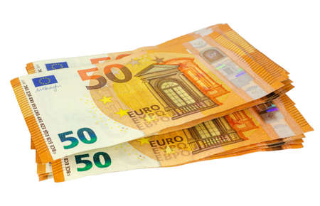 Fifty EUR banknotes isolated on a white background