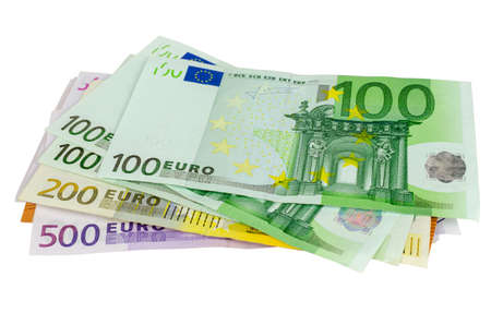 Bunch of different EUR banknotes isolated on a white background 写真素材